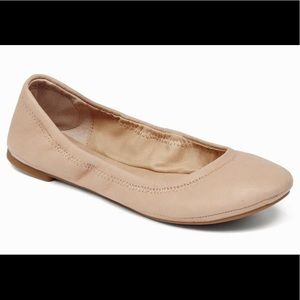 lucky brand emmie leather nude ballet flats
